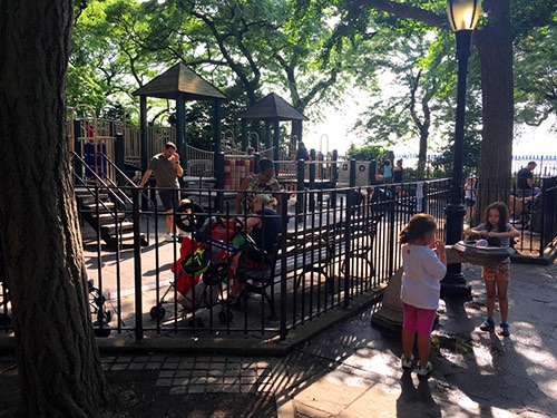 Copy of Pierrepont Playground with kids playing in the water fountain brooklyn heights brooklyn new york city ny