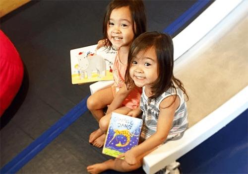kids playing at recess dumbo interior brooklyn new york city ny