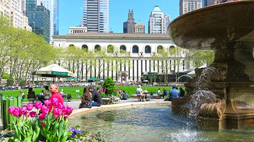 Copy of fountain at bryant park tree lined walkway midtown manhattan new york city ny