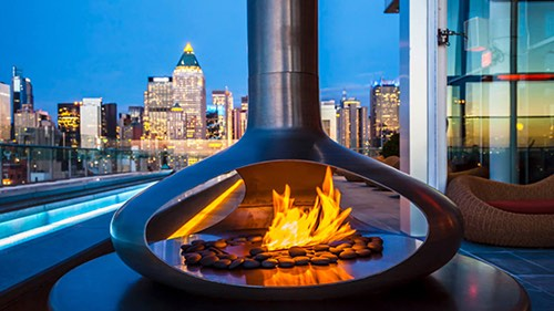 fire pit at press lounge ink 48 hotel midtown new york city