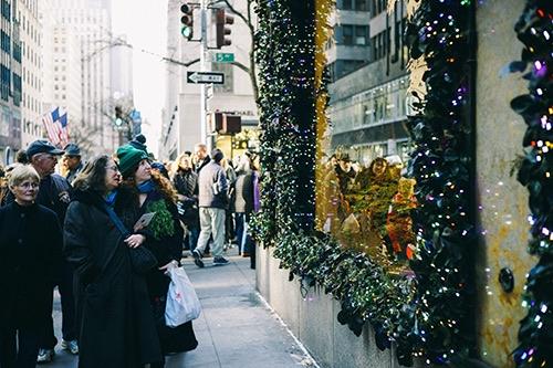 christmas holiday windows at saks fifth avenue midtown manhattan new york city ny