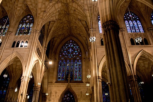 glass windows at st. patricks cathedral midtown manhattan new york city ny