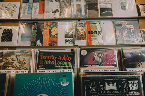 vintage record selection co-op 87 exterior in greenpoint brooklyn new york city ny