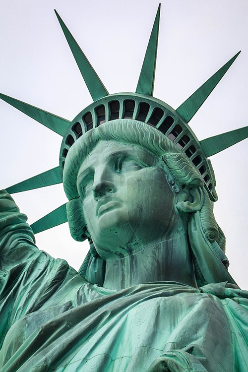 Copy of statute of liberty up close new york city ny