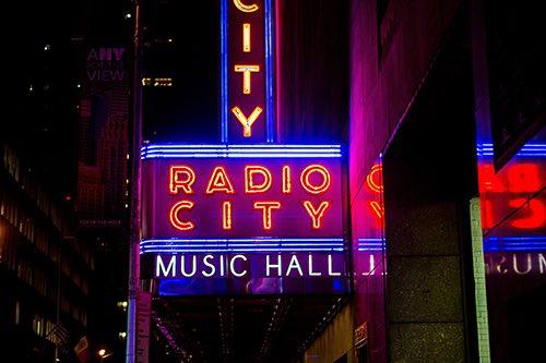 radio city marquee midtown manhattan new york city ny