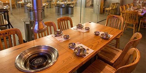 interior table at Baekjeong korean bbq in koreatown midtown manhattan new york city ny