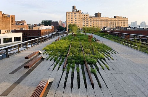 railroad tracks on The High Line meatpacking district new york city ny