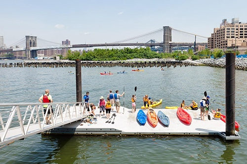 boats lined up at brooklyn bridge park kayaking free new york city ny