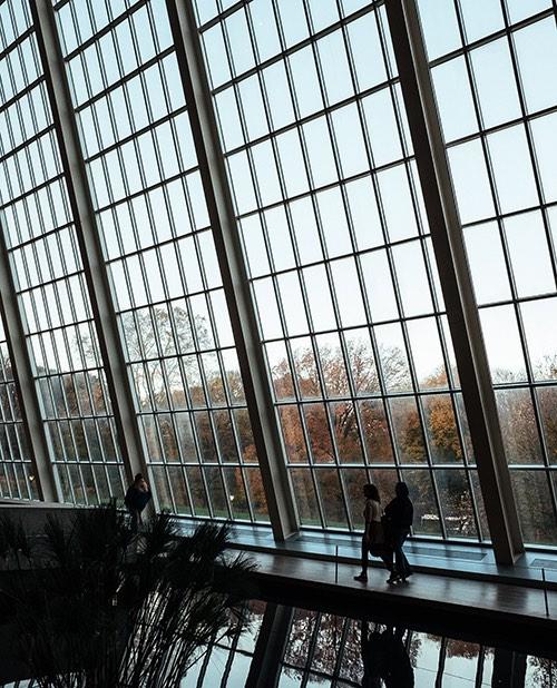 interior glass wall at the metropolitan museum of art manhattan new york city