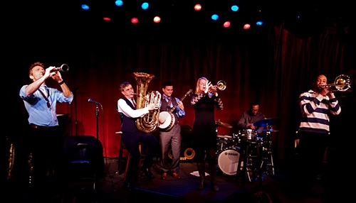 band on stage at birdland jazz club midtown manhattan new york city