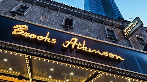 exterior of brooks atkinson theater times square midtown manhattan new york city ny
