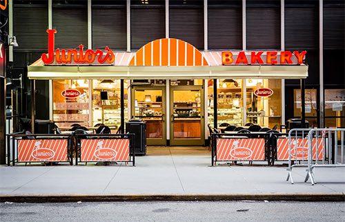 exterior of juniors bakery times square midtown manhattan new york city ny