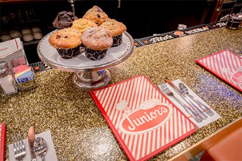 menu and muffin at juniors bakery times square midtown manhattan new york city ny