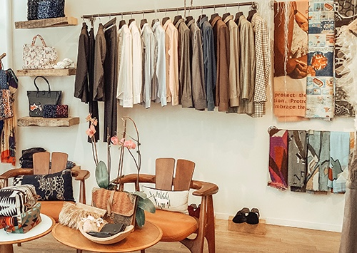 interior clothing rack at jussara lee on 60 Bedford St, New York, NY 10014