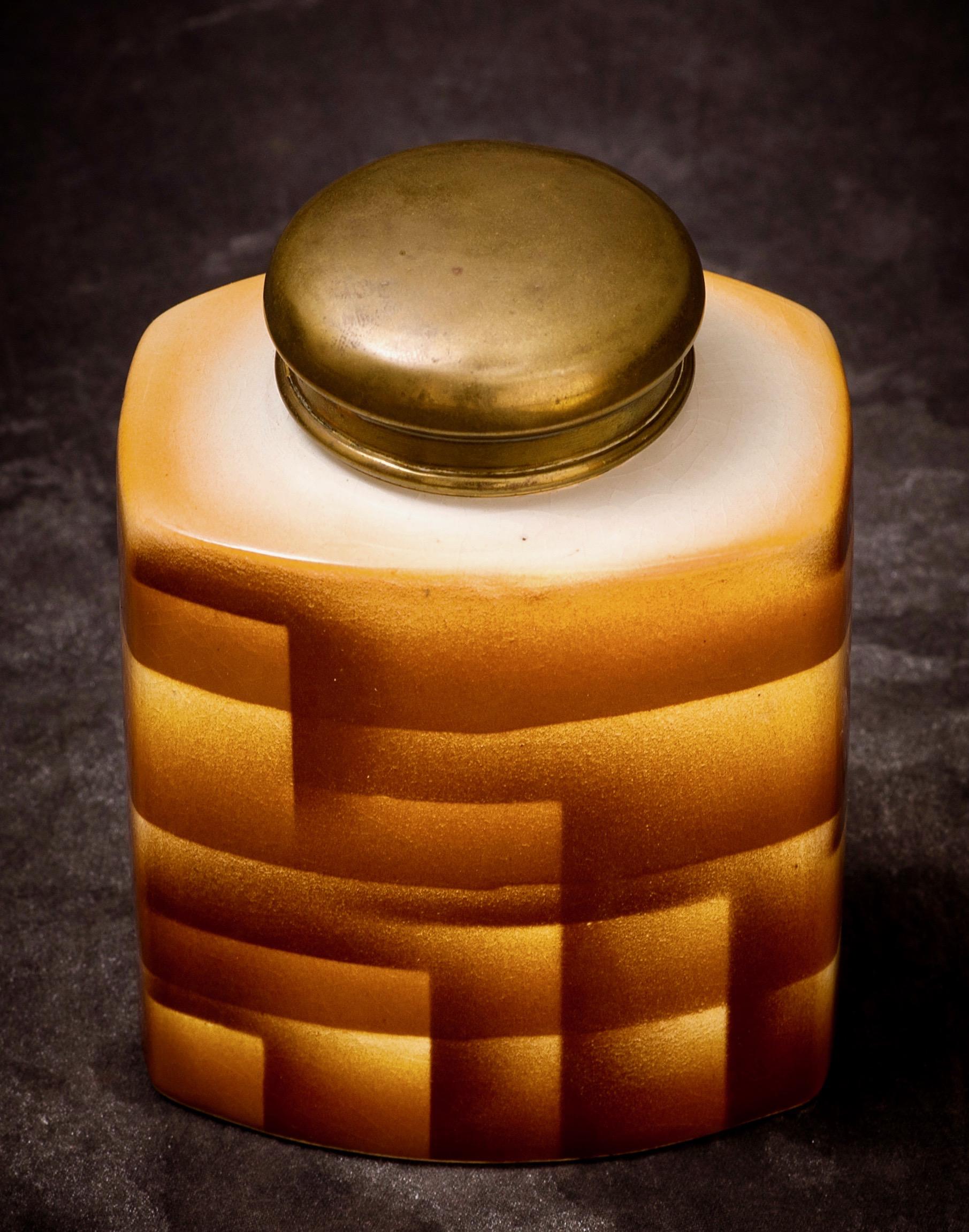 """#2 Tea Container, form """"Tokio"""", dec.249, Carstens – Gräfenroda, ca.1929/1930. Black mfr.; 10 cm H, 9.7 cm L, 7.5 cm W. RM115"""