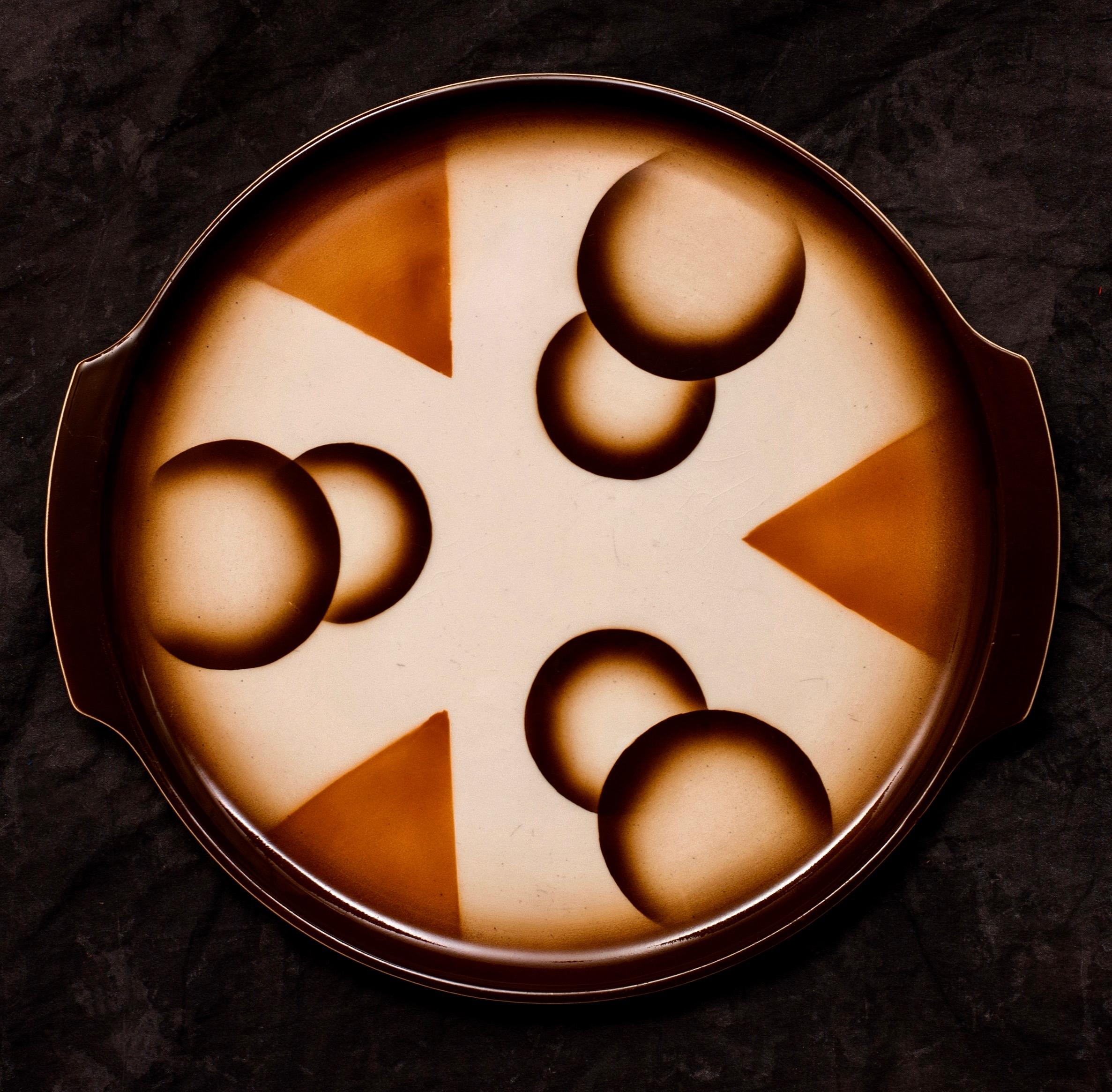 """#34 Platter, form 6300/1 service 145 """"Darmstadt"""", dec.2925, Roesler – Darmstadt, ca.1933. Black mfr.; Blind 6300-1; 2.2 cm x 33 cm top, 28.5 cm base Ø. RM1696"""