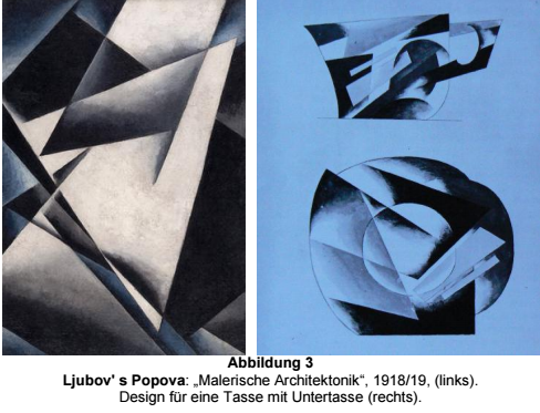 3. Popova: Left. Painterly Architectonics 1918/19. Right. Design for a cup and saucer