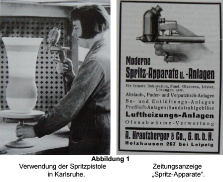 Above Left: Use of an Aerograph in Karlsruhe. Above Right: Newspaper ad for an Aerograph