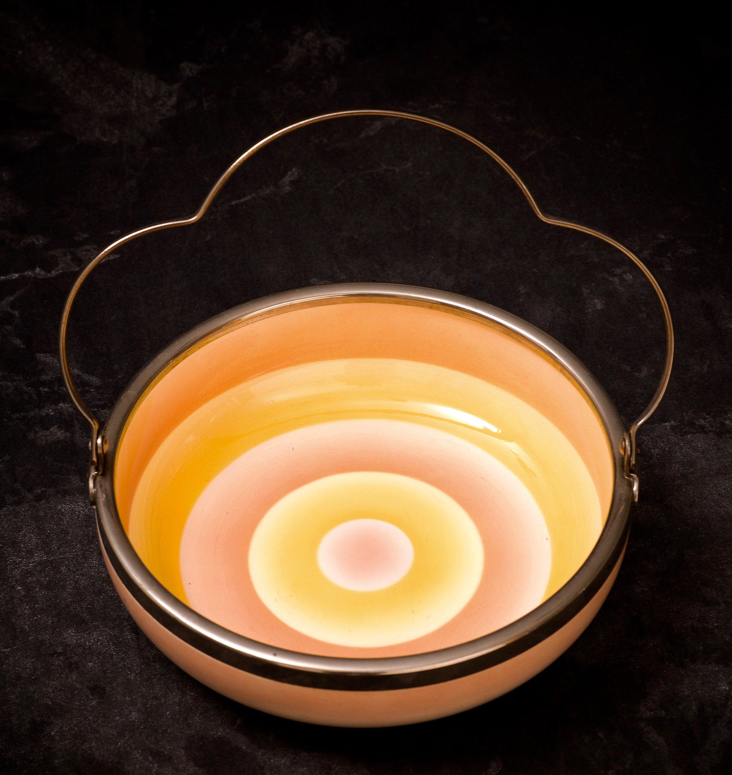 #71 Bowl, form 4232, dec.3096, Wächtersbach, ca.1930. Blue Dec.3096 / 36; Blind mfr. beehive 4232/3; 5.3 cm H, 17.5 cm opening, 11 cm base Ø. RM606