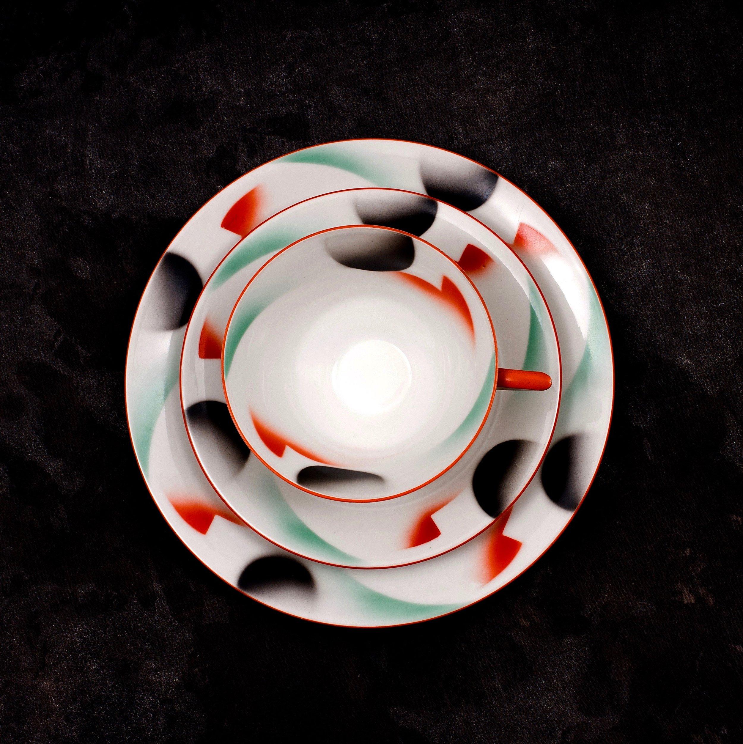 #102 Cup, saucer and plate, Porzellanfabrik Kahla, ca.1930-1932.