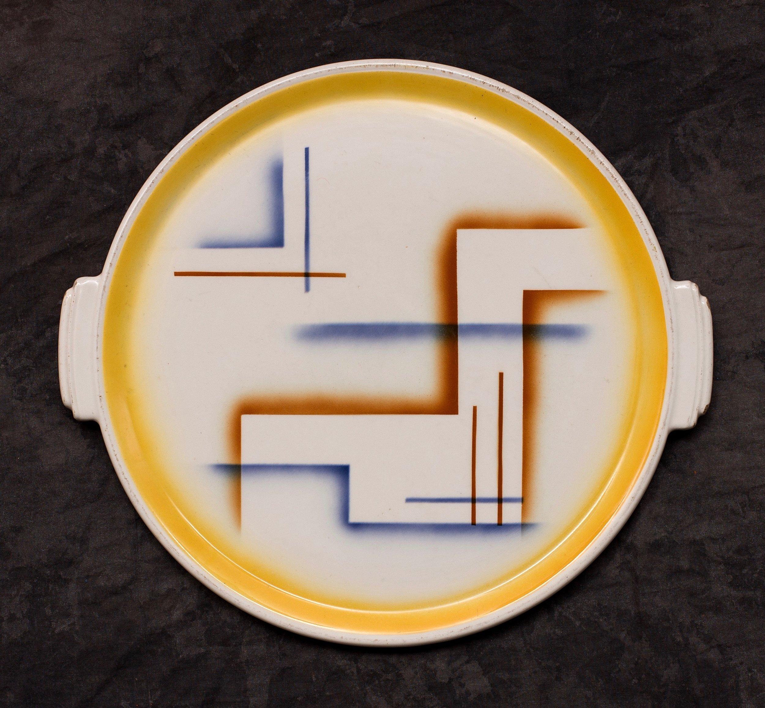 #127 Platter, form 1632, dec.6175, Grünstadt, ca.1931. Green mfr., 06175; Blind 1632; H. 1.7 cm H; 30.7 cm top, 26.3 base Ø. RM2176
