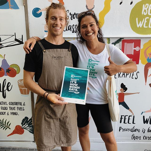 We've been working with local businesses over the past twelve months to help them go plastic-free - including these legends at @thewell_bondi! 🤙🏼 What commitment are you making this @plasticfreejuly? Tell us, tag it with #PlasticFreeBondiPledge and go into the running to win some awesome eco goodies! 😎 ♻️