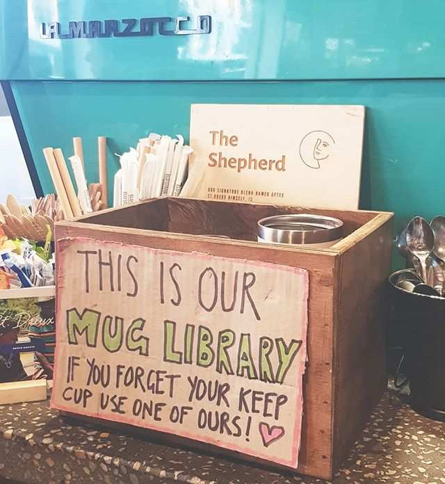 Love seeing local businesses embrace waste-free options like this mug library at @gertrudeandalice on Hall Street. Forgot your reusable cup? Use one of these and then make sure to return it for the next person!