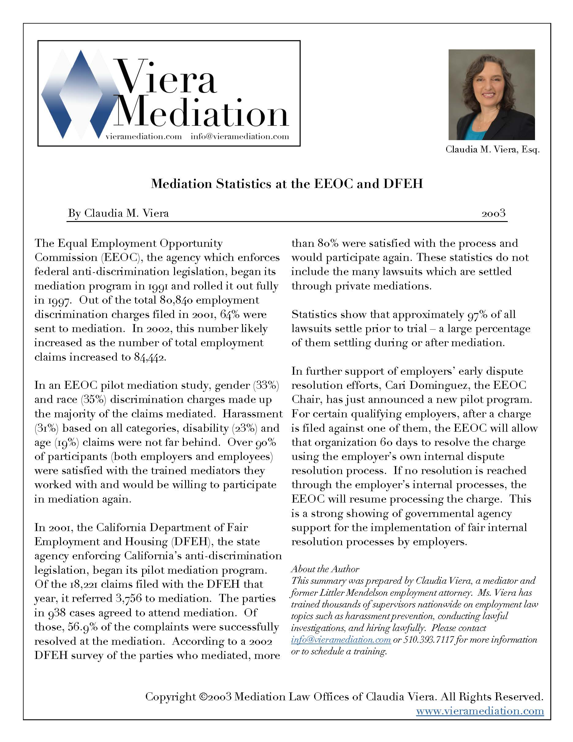 Mediation Statistics at the EEOC & DFEH