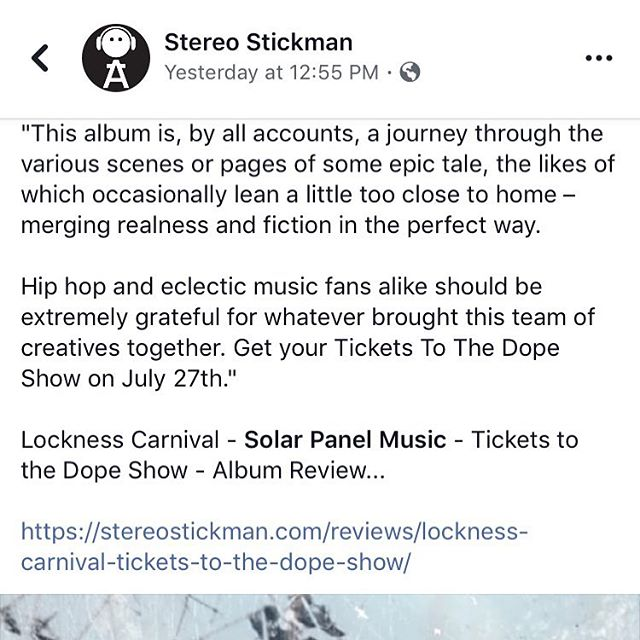 "Our first review on the new Lockness Carnival project ""Tickets to the Dope Show"" from online mag @stereostickman!  We appreciate the love @stereostickman, glad you enjoyed the music and honored that chose to do a review on our project!! The wait is almost over! In less than 24 hours you can get your Tickets to the Dope Show! #Solarpanelmusic #darcangel #usulstrange #realhiphopmusic #gamechanger #instantclassic #locknesscarnival"