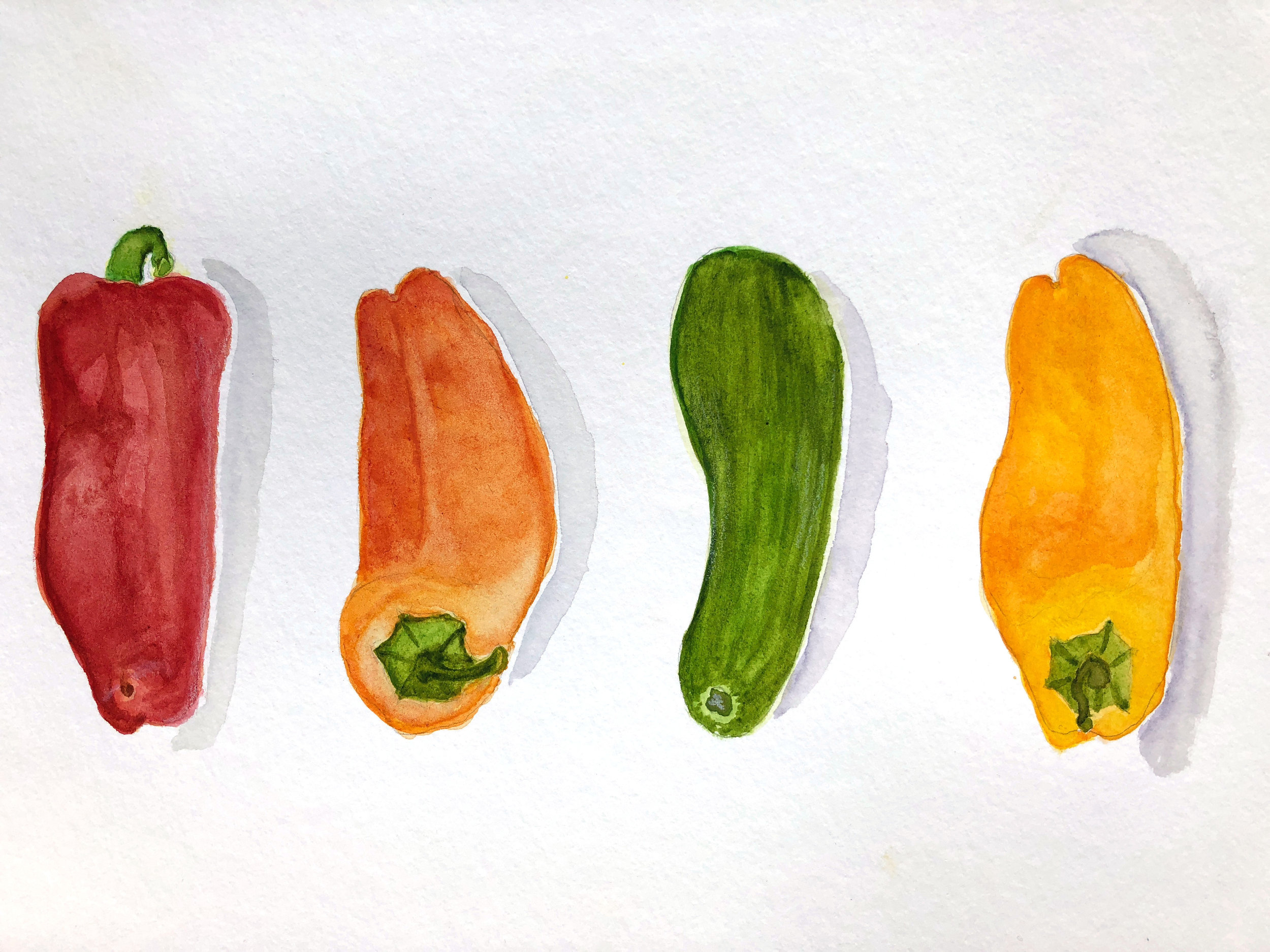 Mini cukes and caps – watercolour