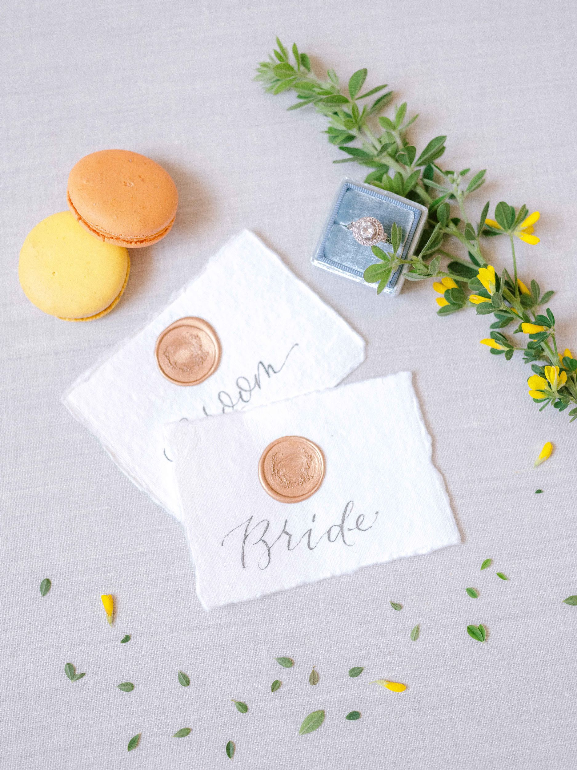 place cards with house wax seal on handmade paper