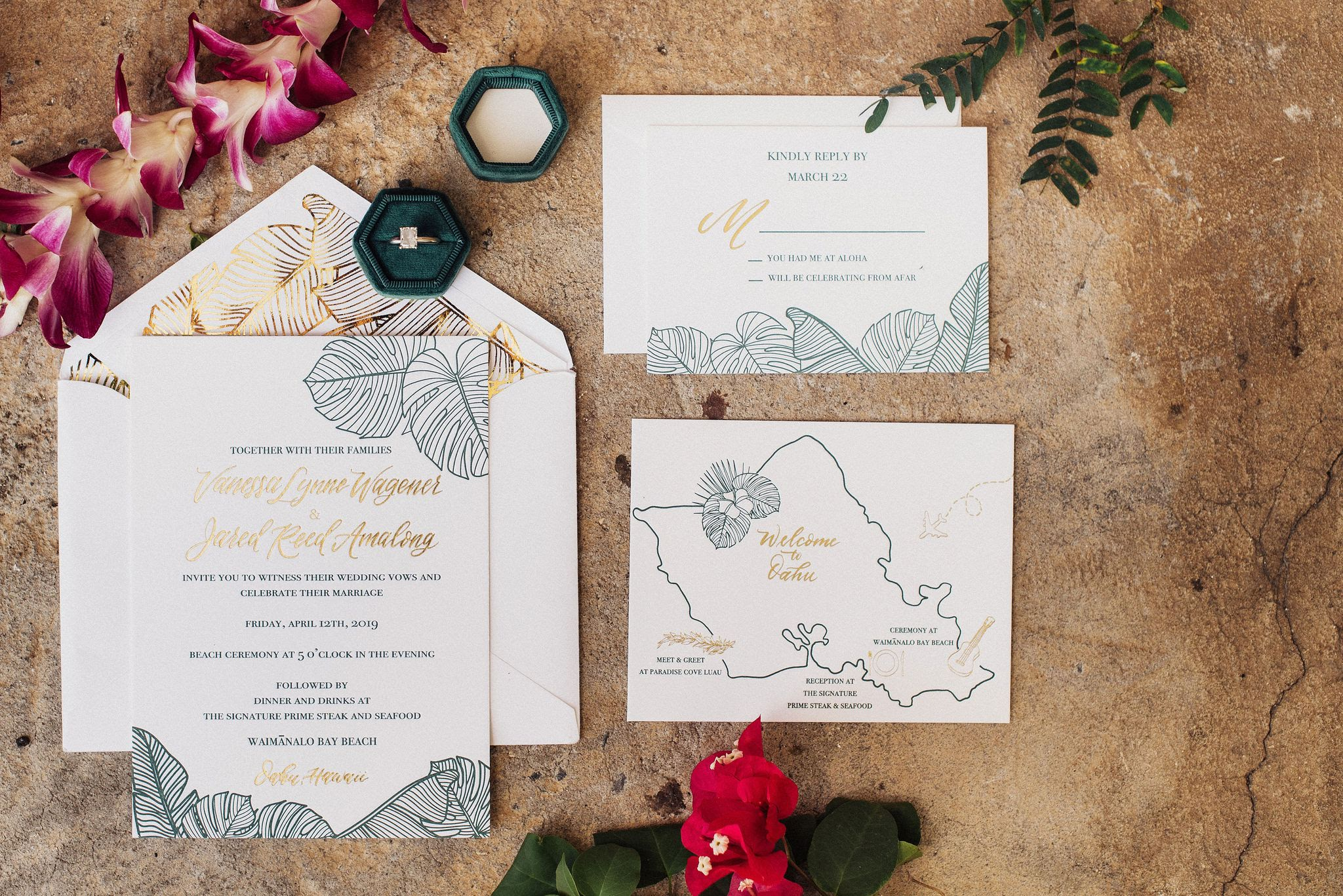 Letterpress and gold foil invitation