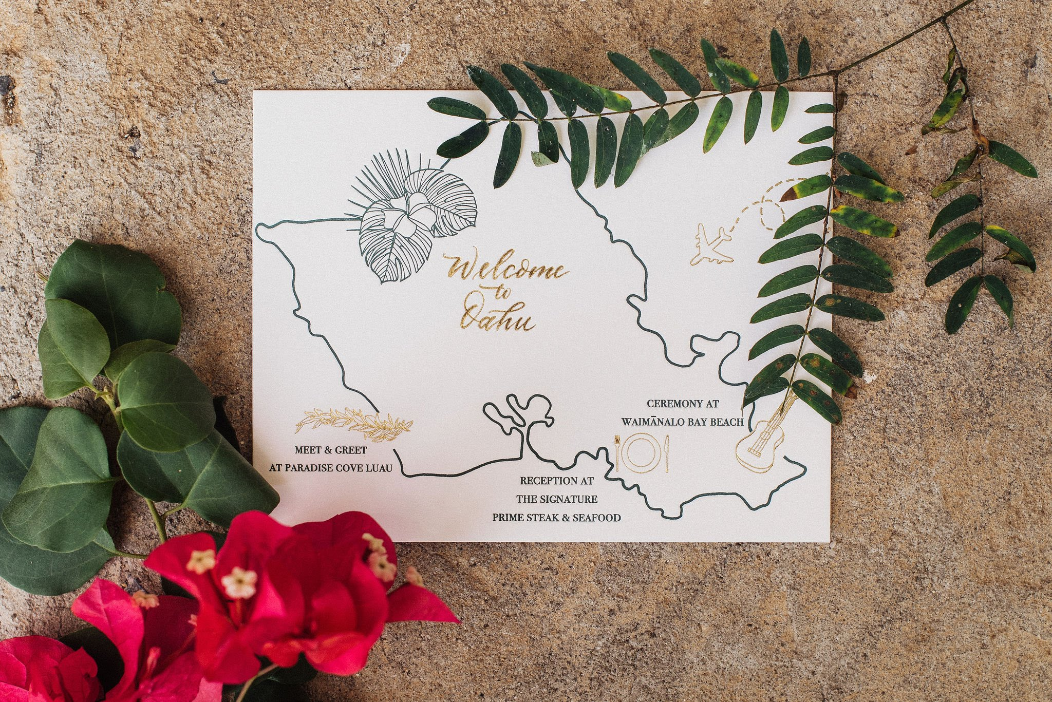 Letterpress destination wedding map