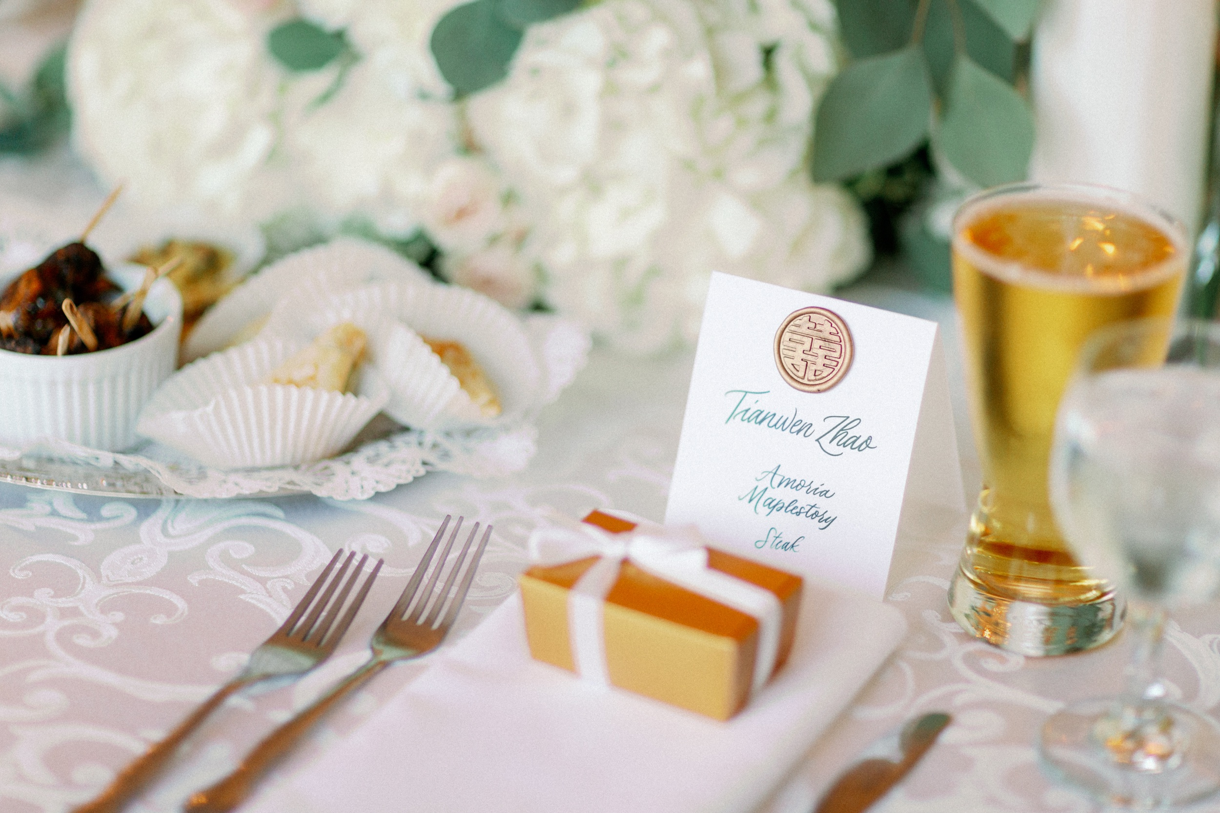 Place card with gold wax seal