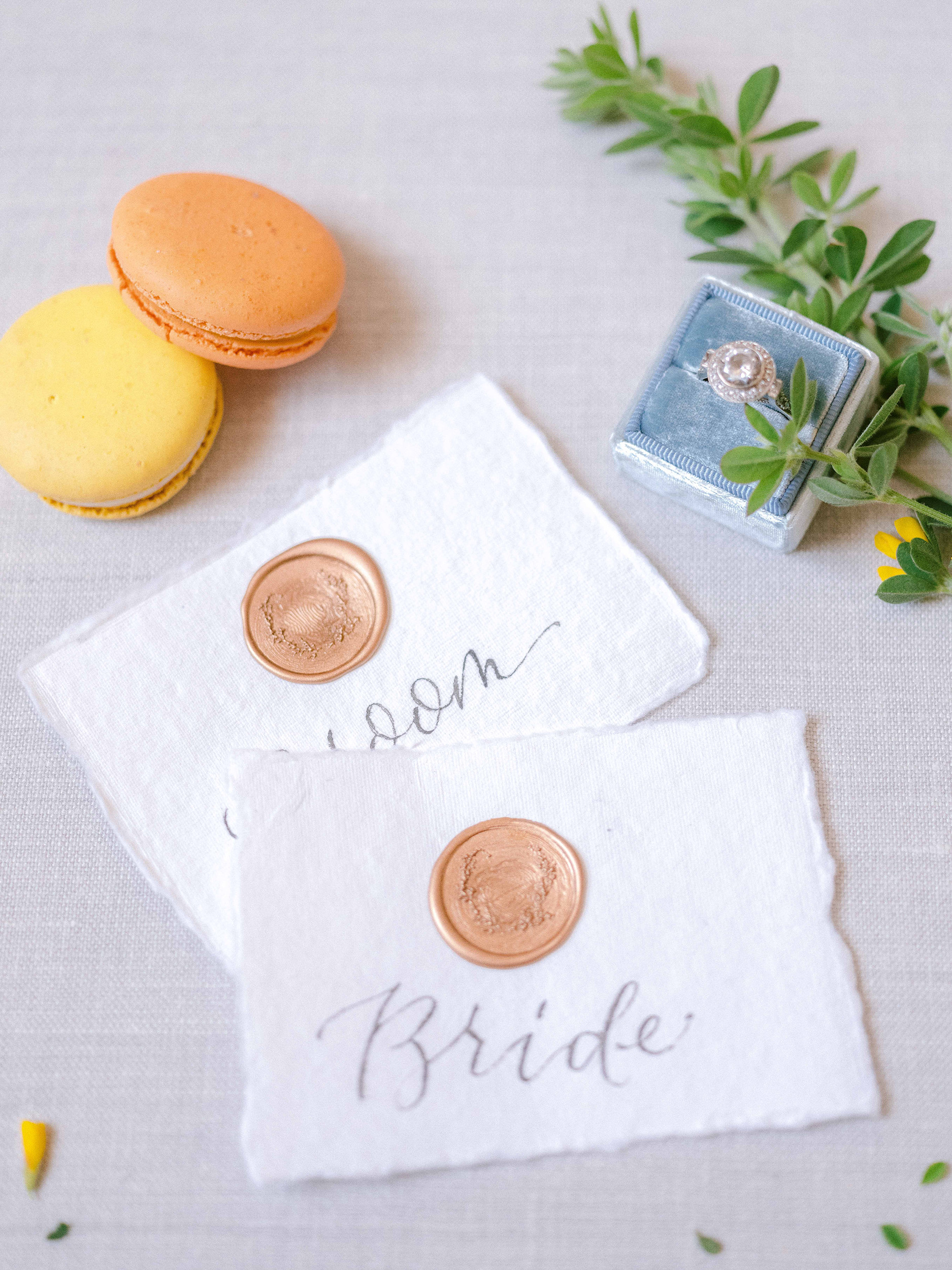 Handmade paper place card and house wax seal