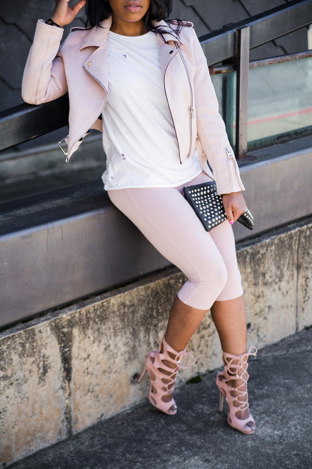 BlankNYC Pink Suede Moto Jacket