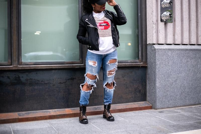Cap; Forever21 // Jacket; BlankNYC - similar  here  // Tshirt;  Ellandemm  // Denim; Zara - old // Boots - Louis Vuitton // Earrings - iamPurty // Necklace;  Forever21