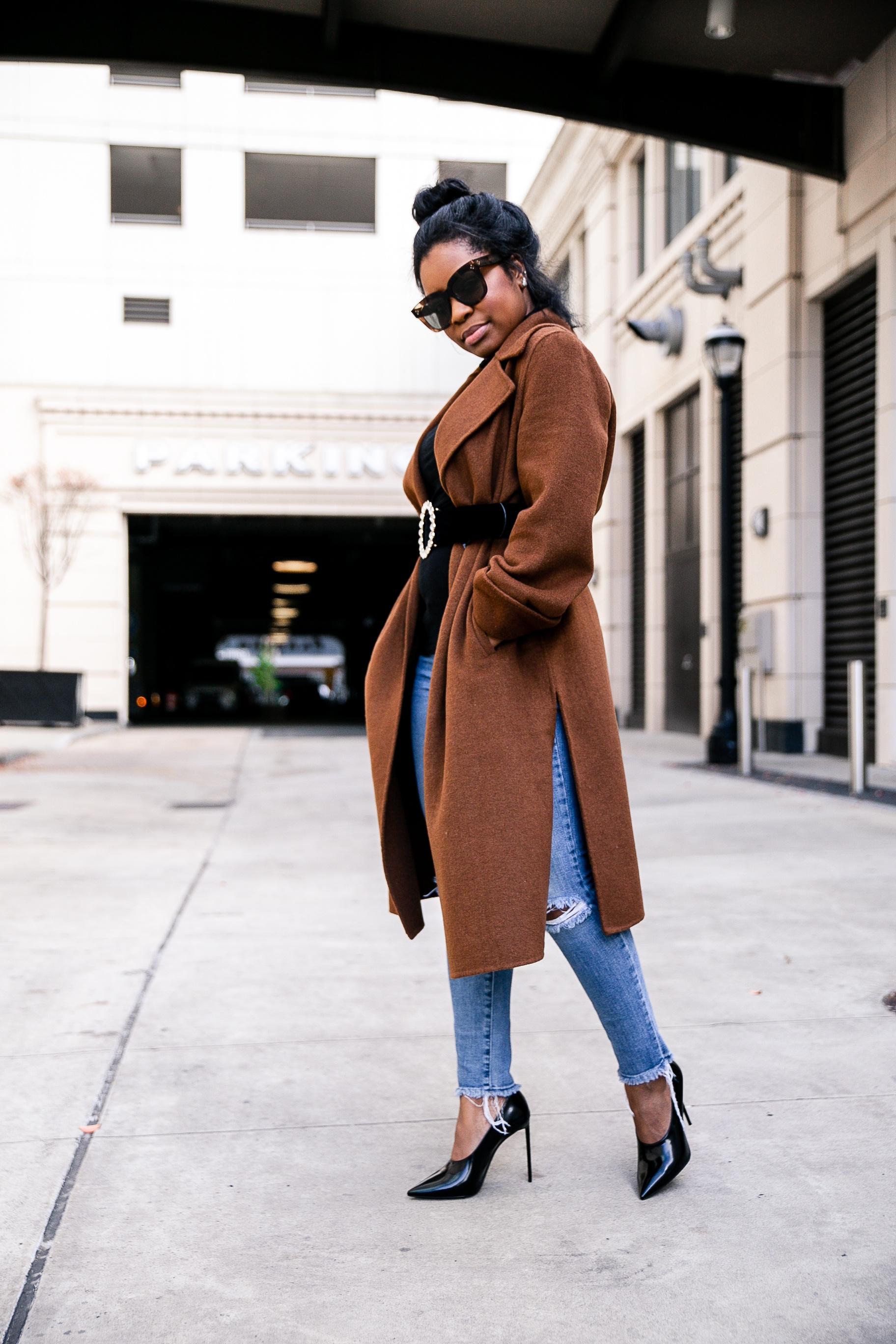 Coat;  Zara  // Belt; Zara // Denim; Joe's // Shoes; Saint Laurent -  here  // Sunglasses; Céline