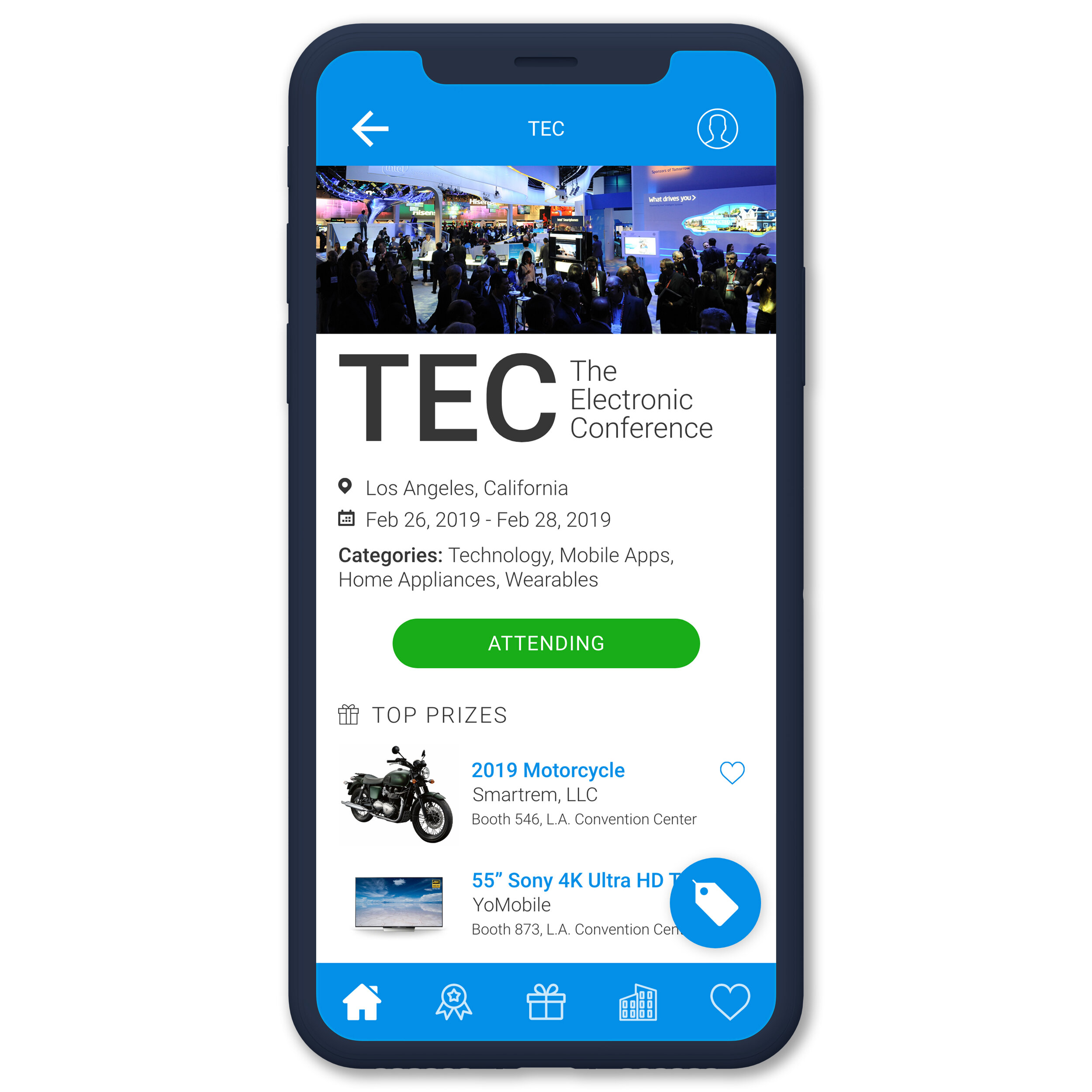 Follow UpcomingTrade Shows - Search through upcoming trade shows, and follow the ones that you plan on attending. Each show that you follow will be easily accessible in your account. Exhibitors offering giveaways will be featured in the 'Companies' section of the app. Check back prior to the event for new giveaway and exhibitor additions.