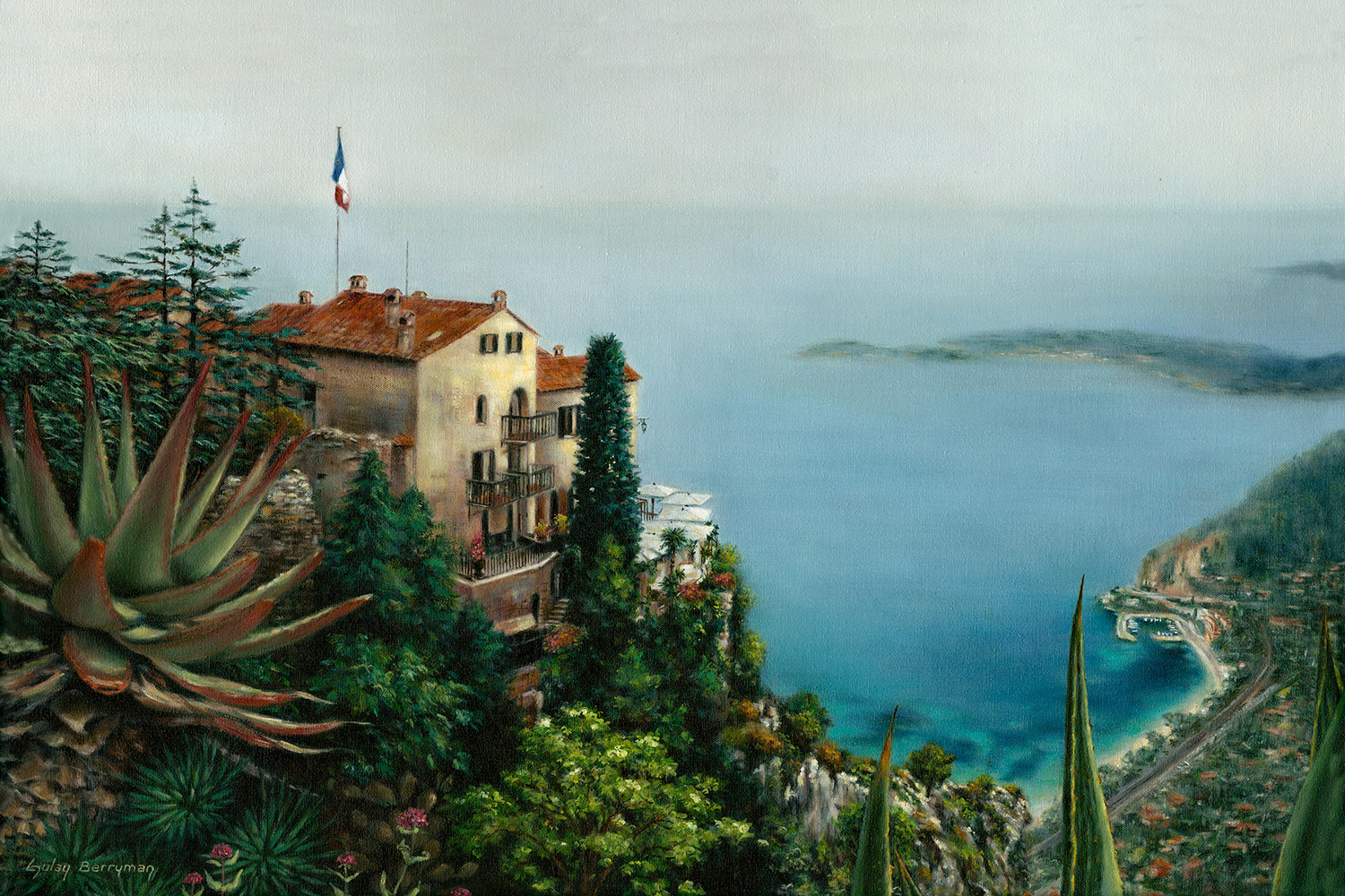 View from Eze (Looking Toward St. Jean Cap Ferrat) | oil on canvas by Gulay Berryman