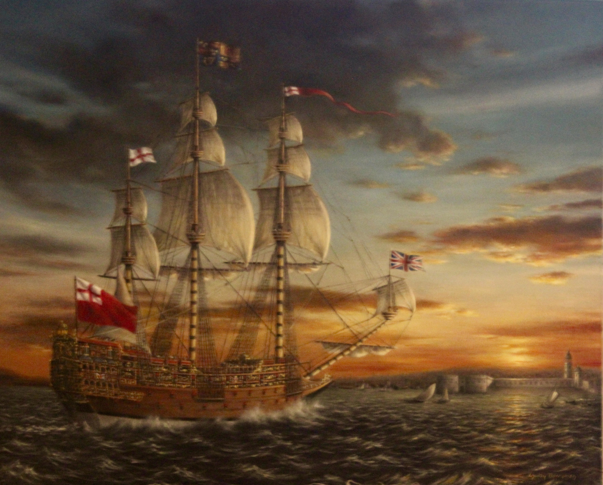 The 'Sovereign of the Seas' Returns to Portsmouth  (currently available on www.wmbgartgallery.com)