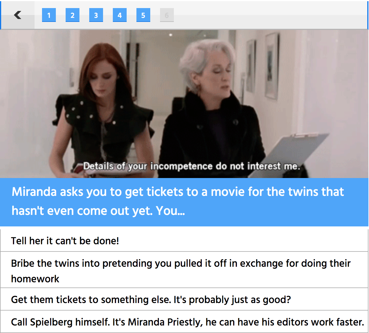 """A sample question from the """"How Long Would You Have Lasted as Miranda Priestly's Assistant?"""" quiz I created for XOBenzo (Ashley Benson)  Quiz taken  93.2k  times"""