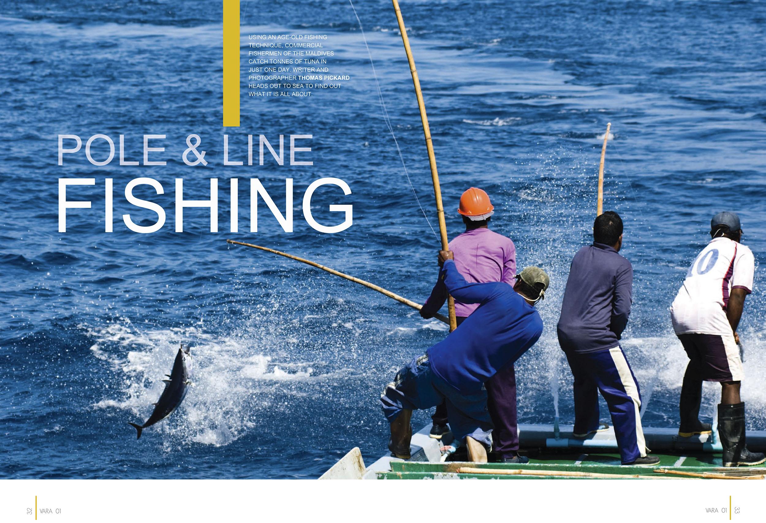 Island Aviation Vara Magazine. Pole and Line Fishing article. Wo