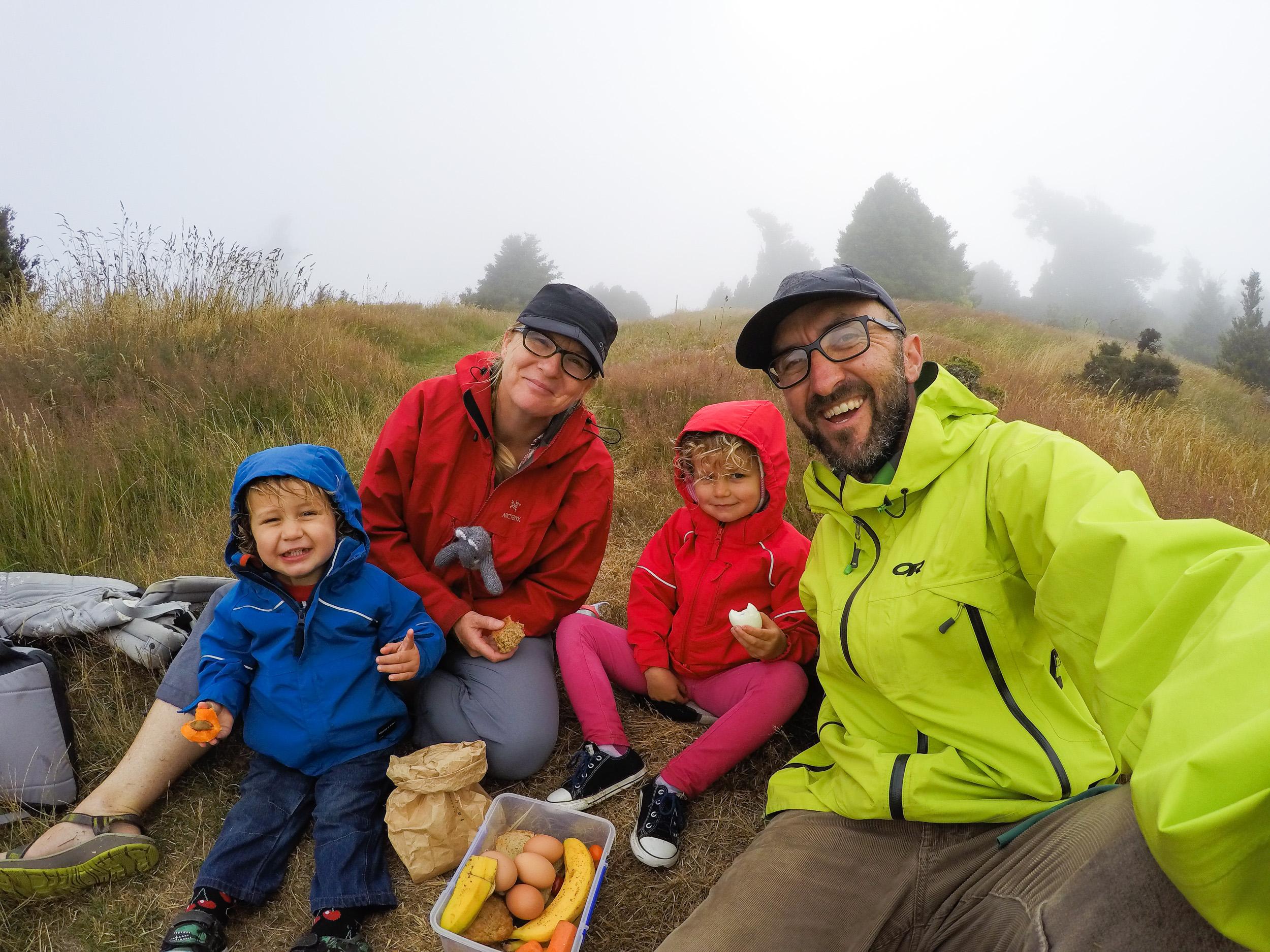 Family selfie, Banks Peninsula, South Island, New Zealand.