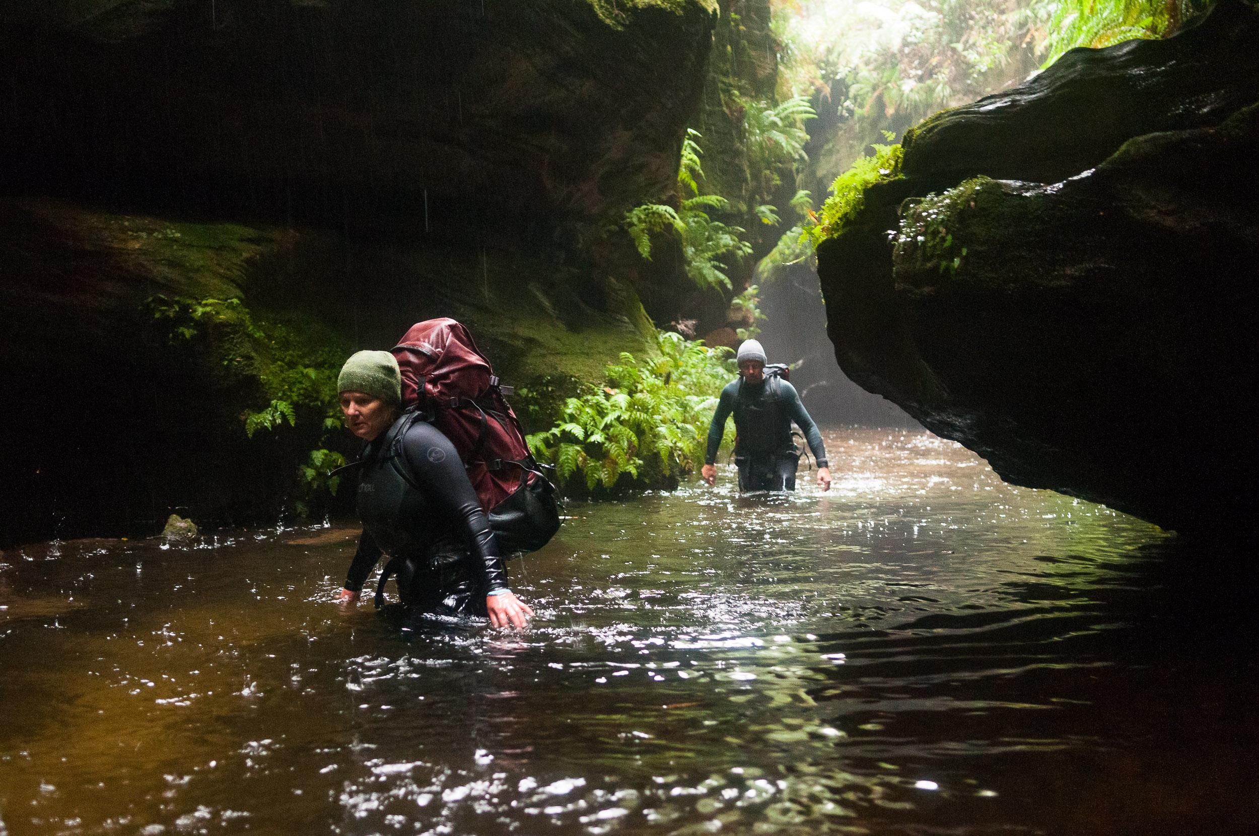 Wading down Bells Creek Canyon, Blue Mountains, Australia.