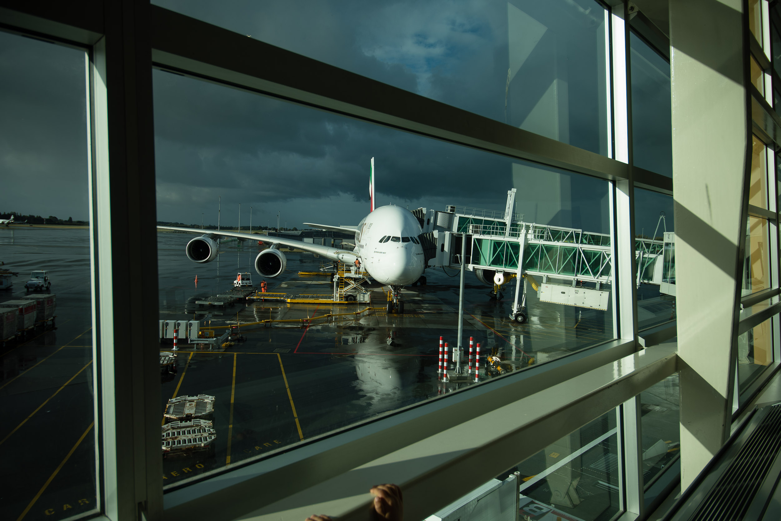 The awesome A-380 at Christchurch airport. Even today, Finn can't stop talking about it.