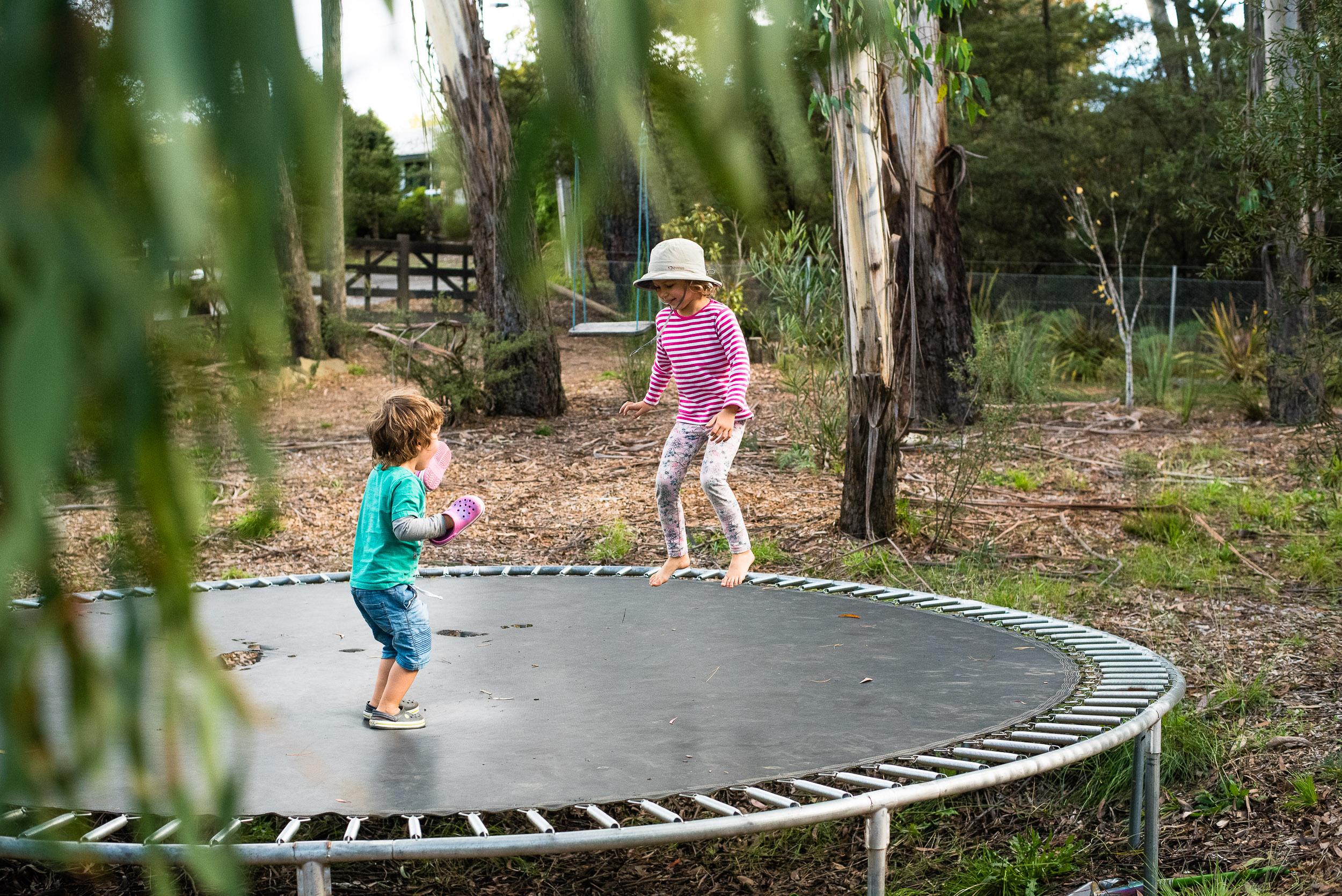 Trampoline time at Hayley and Ben's, Medlow Bath.
