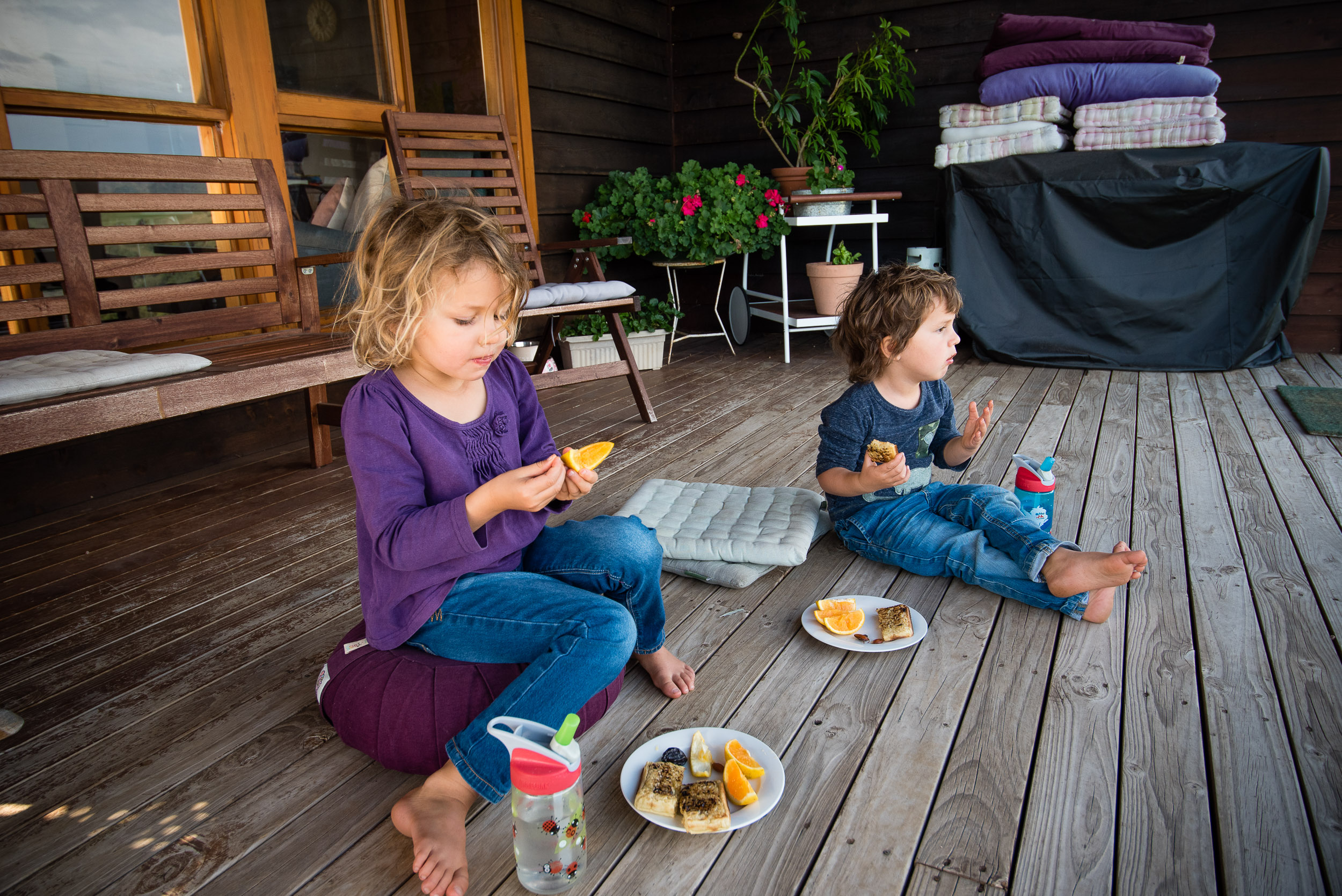 Snack time on the aweome deck at The Farm, Little Hartley.