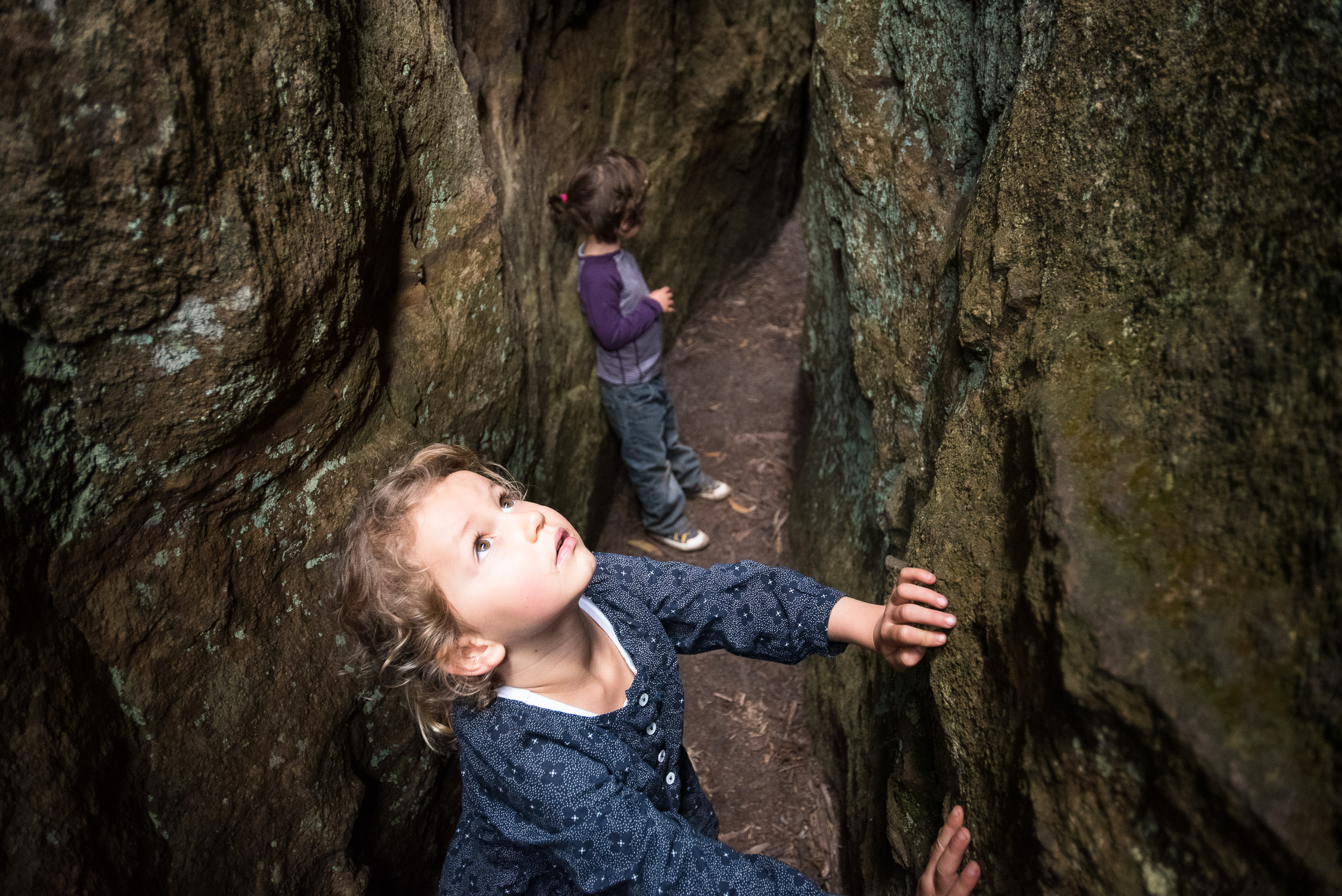 Holly and Finn exploring the awesome rock cracks, Deep Pass.