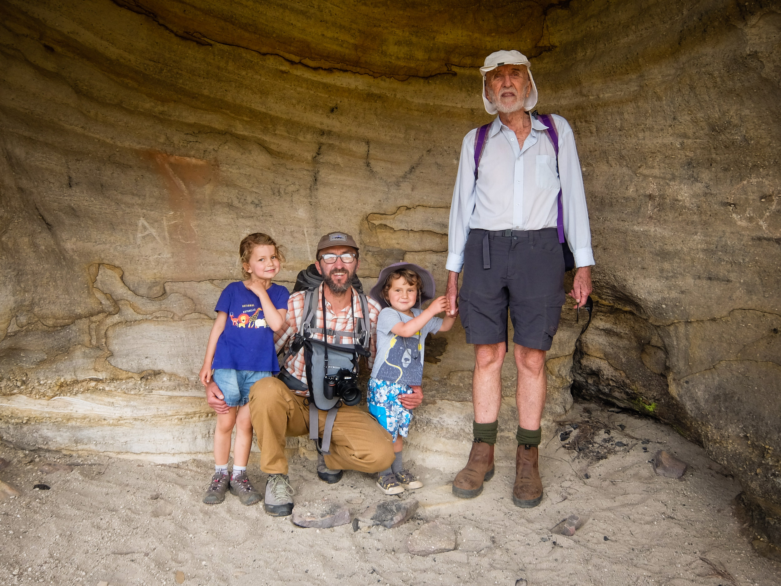 Holly, dad, Finn and Grandpa JP. Portrait on the way to Butterbox Lookout, Mt Hay.